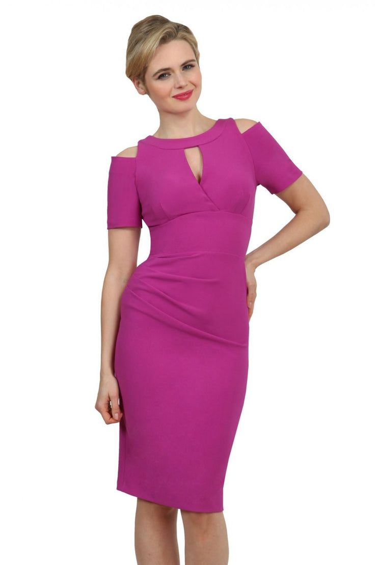 model wearing diva catwalk ruth pencil skirt dress with a keyhole cut in rounded neckline and cold shoulder detail in orchid purple  colour front