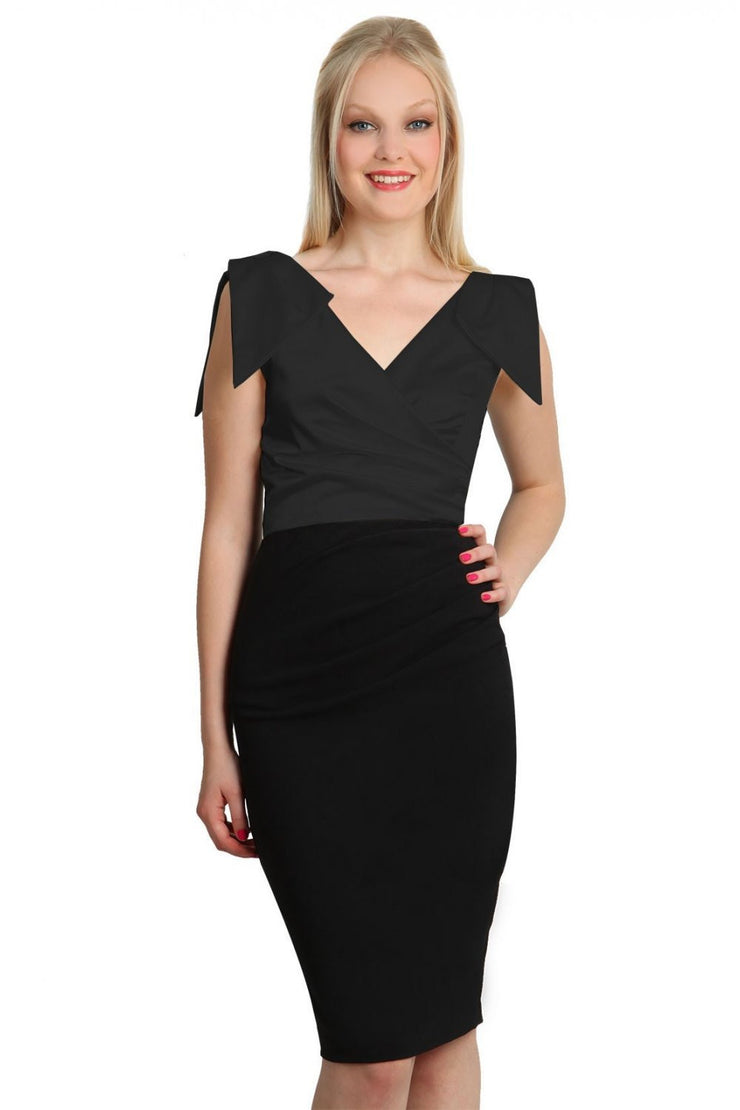 Model wearing the Diva Broadway Satin dress with satin bodice to front and pleating at the front in black and black front image