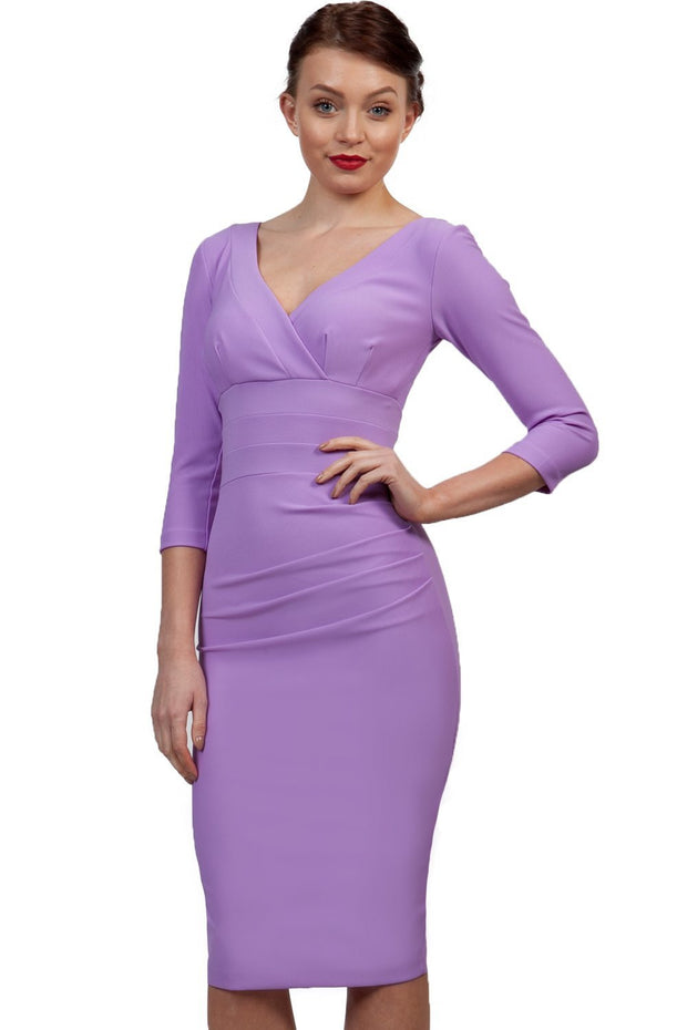 Model wearing the Diva Jemima dress in pencil dress design in orchid lilac front image