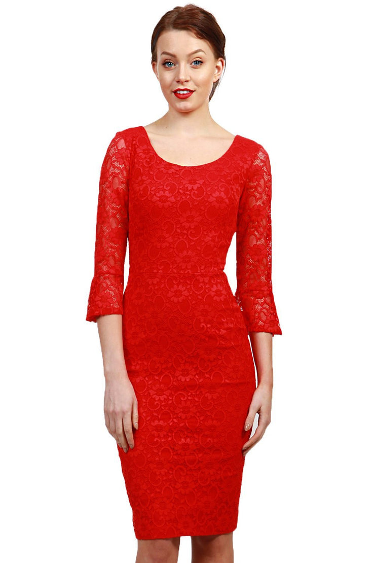 Model wearing the Diva Beatrice lace dress with round neck and pleated cuff in red lace front image