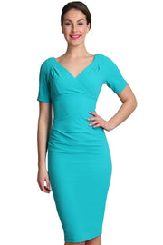 Model wearing the Diva Opal dress in pencil dress design in celeste blue front image