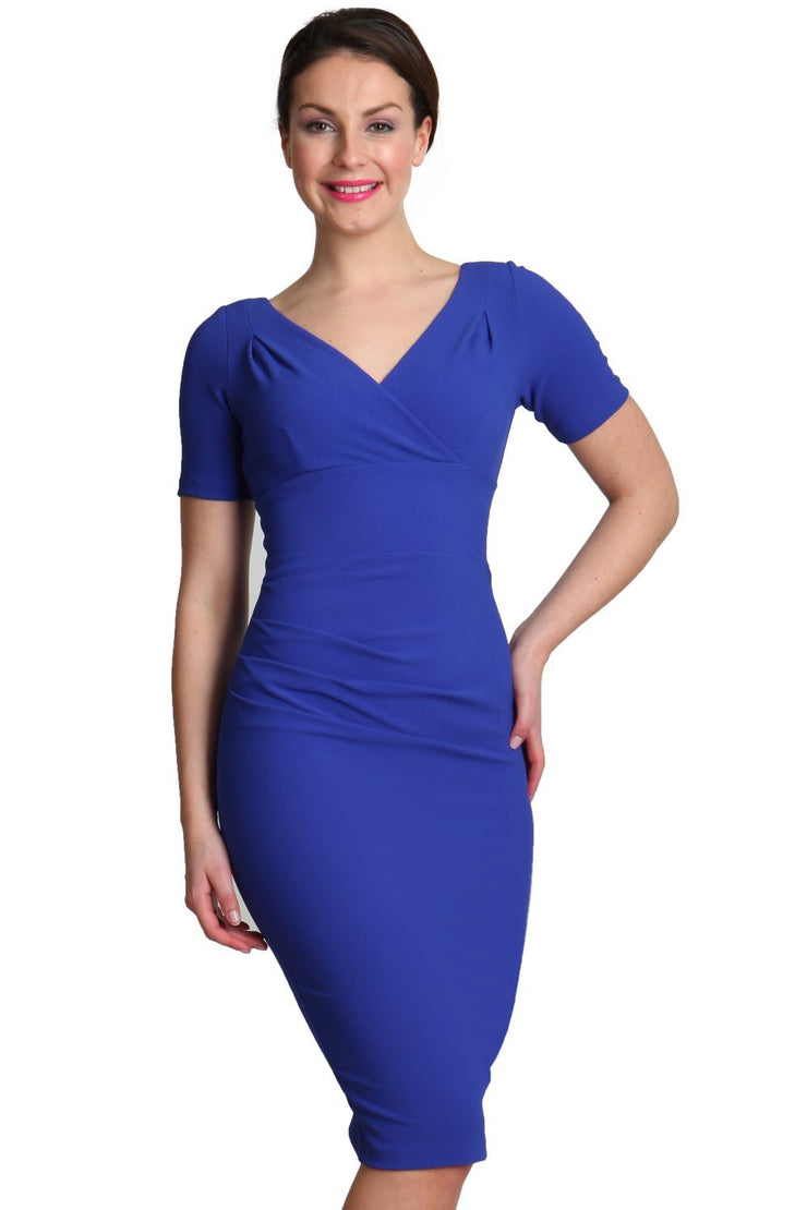 Model wearing the Diva Opal dress in pencil dress design in riviera blue front image