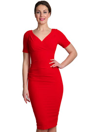 Model wearing the Diva Opal dress in pencil dress design in fiesta orange front image