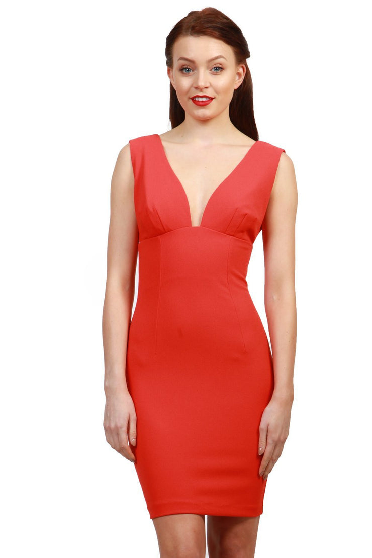 Model wearing the Diva Athens Short dress sleeveless with plunging neckline, semi square open back in fiesta orange front image