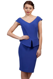Model wearing the Diva Azalea Peplum dress with semi V neckline and peplum waist detail in cobalt blue front image