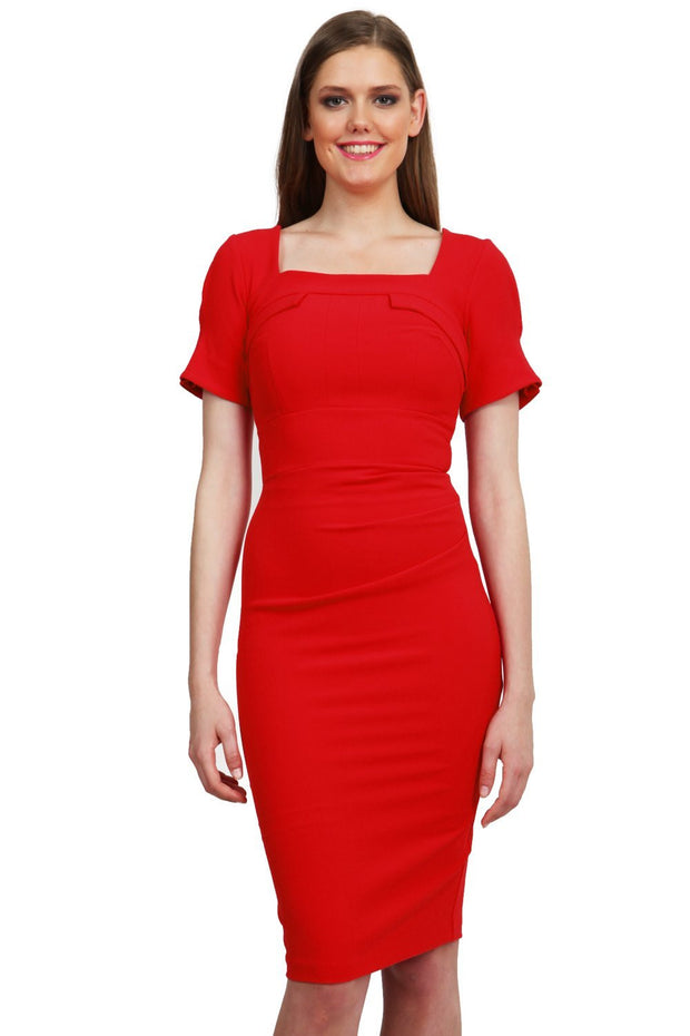 Model wearing the Diva Mollie dress in pencil dress design in scarlet red front image