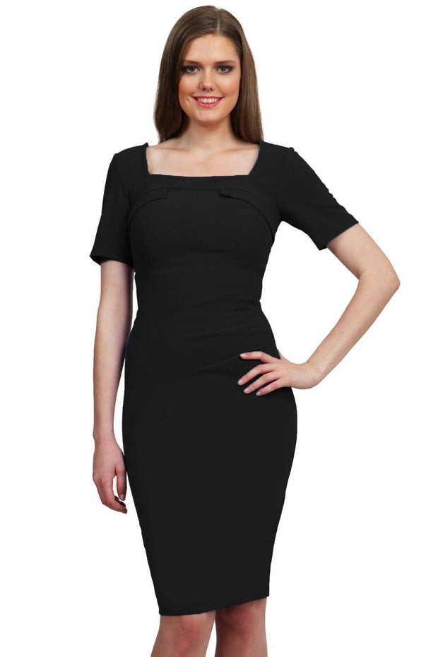 Model wearing the Diva Mollie dress in pencil dress design in black front image