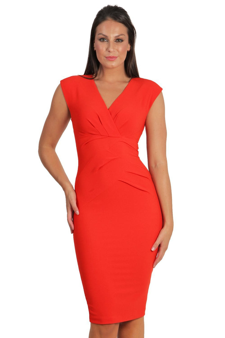 Model wearing the Diva Sylvia dress in pencil dress design in fiesta orange front image