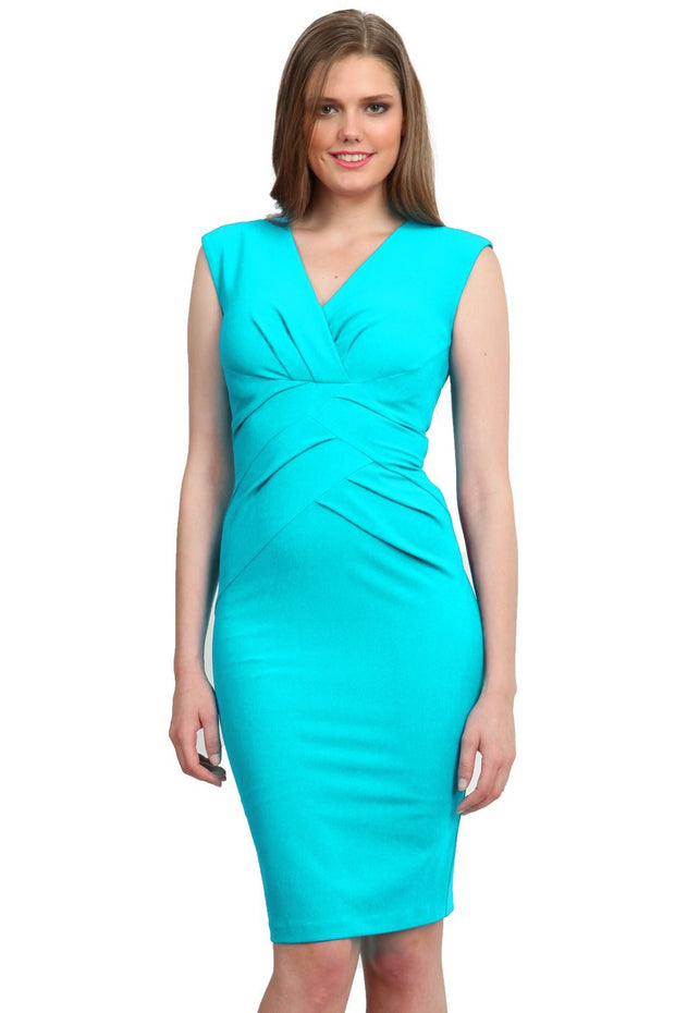 Model wearing the Diva Sylvia dress in pencil dress design in celeste blue front image