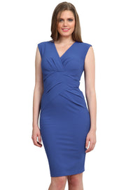 Model wearing the Diva Sylvia dress in pencil dress design in dutch blue front image