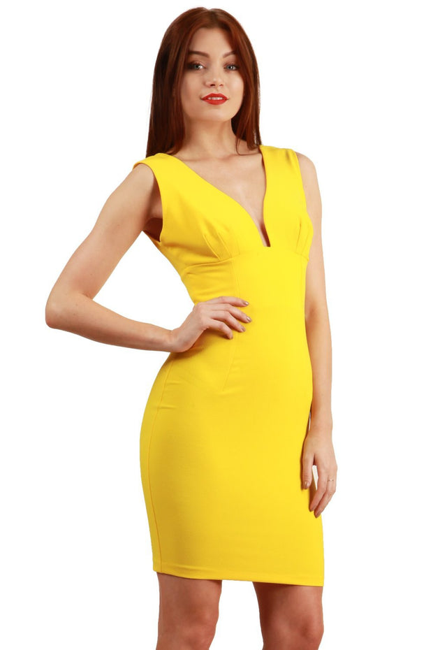 Model wearing the Diva Athens Short dress sleeveless with plunging neckline, semi square open back in empire yellow front image