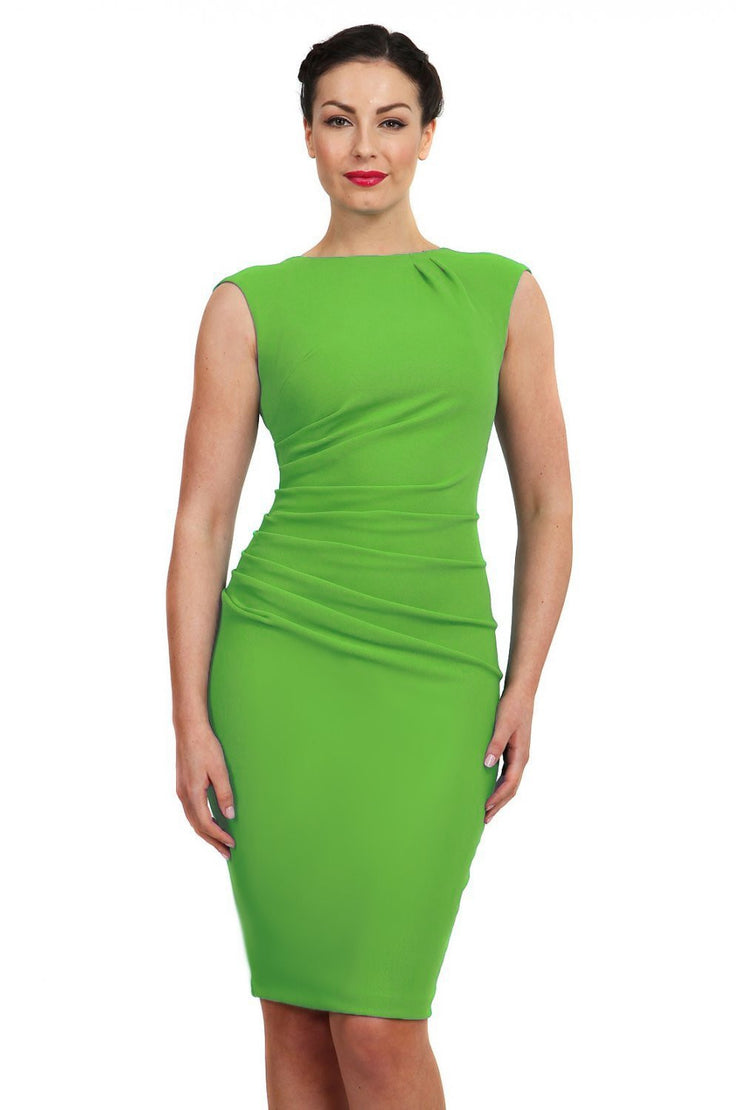 Model wearing the Diva Carla Pencil dress in ribbed super stretch fabric in emerald green front image