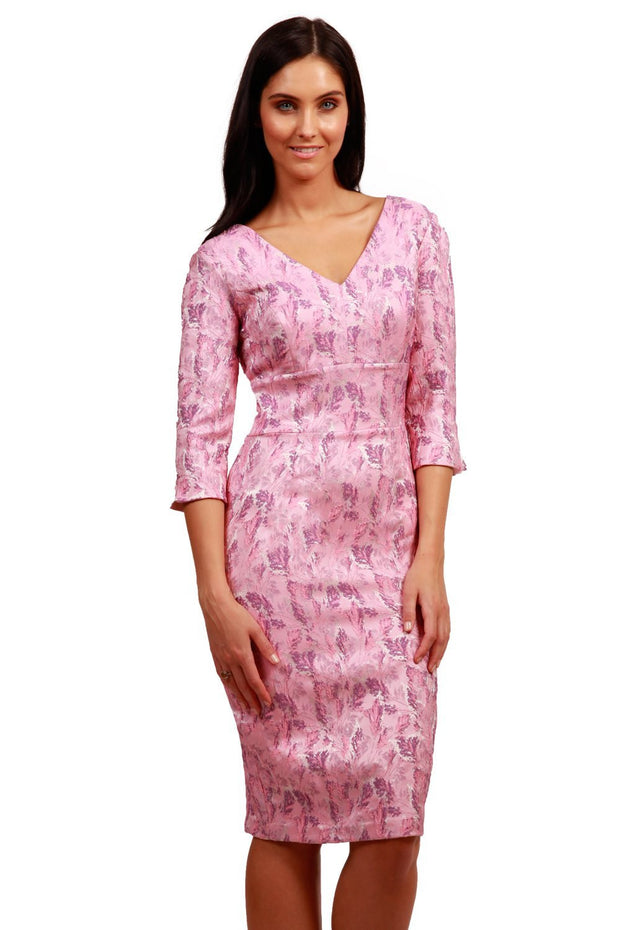 Model wearing the Diva Florianne Jacquard  dress in pencil dress design in pink lavender front image