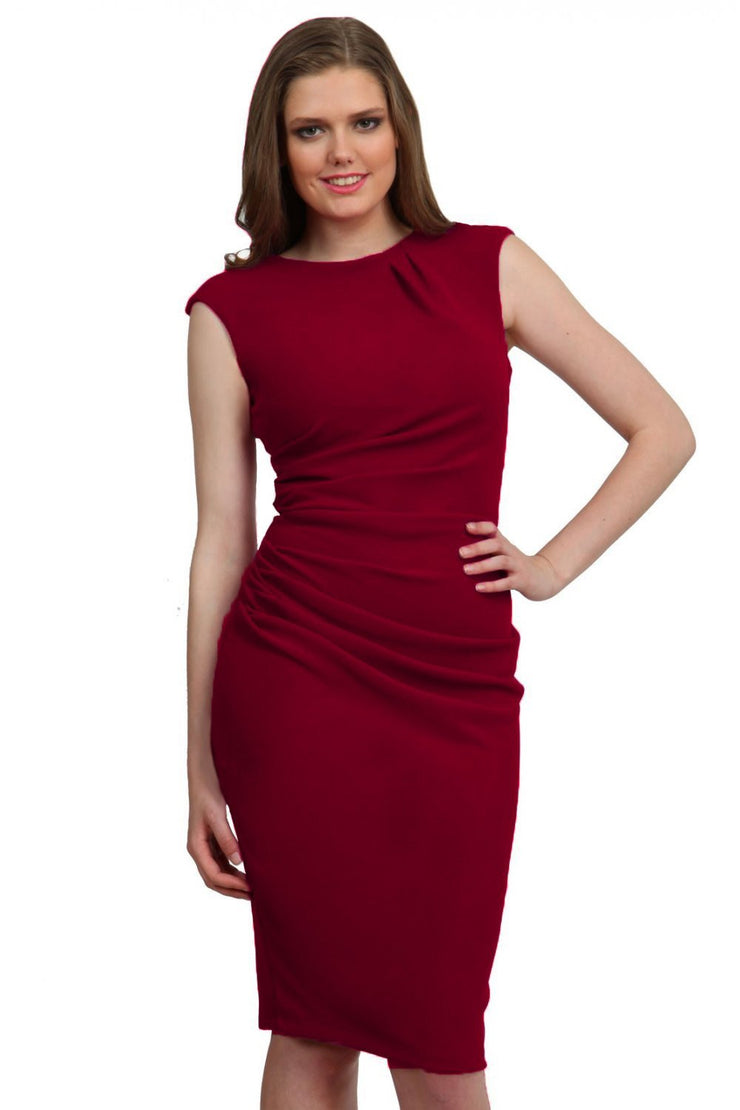 Model wearing the Diva Carla Pencil dress in ribbed super stretch fabric in merlot red front image