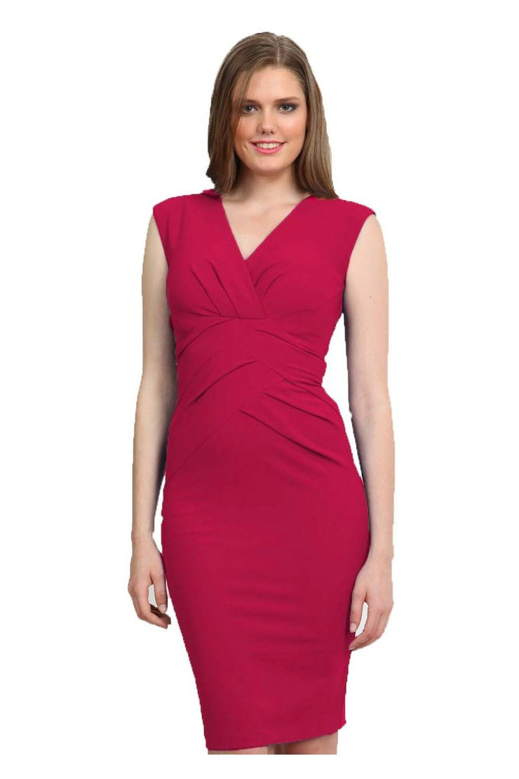 Model wearing the Diva Sylvia dress in pencil dress design in dazzle pink front image