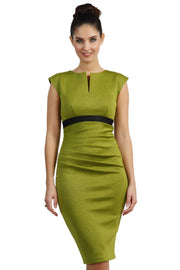 blonde model is wearing dive catwalk nadia sleeveless contrast band pencil-skirt dress with rounded neckline with a slit in the middle in green front