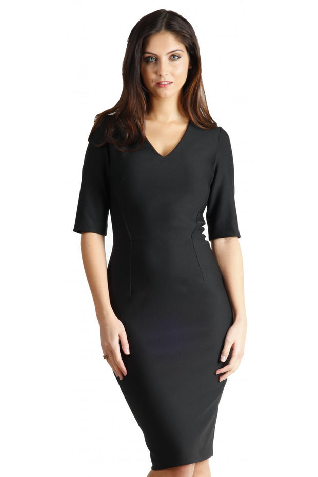 Model wearing the Diva Jessa dress in pencil dress design in black front image