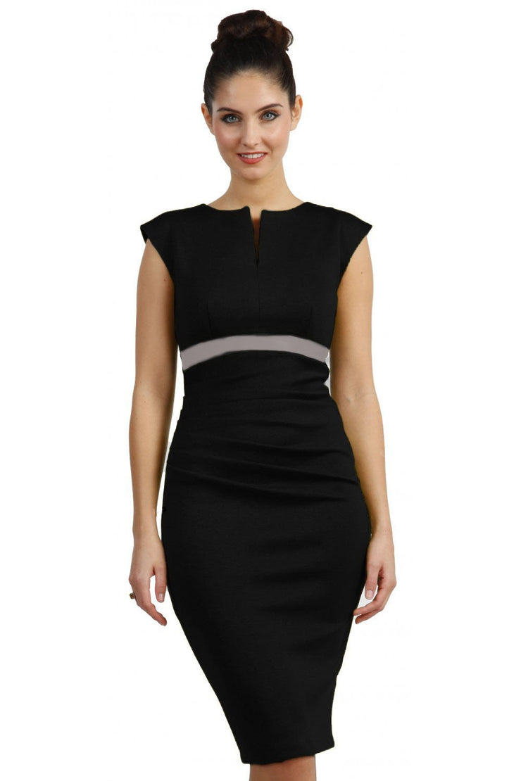 blonde model is wearing dive catwalk nadia sleeveless contrast band pencil-skirt dress with rounded neckline with a slit in the middle in black front