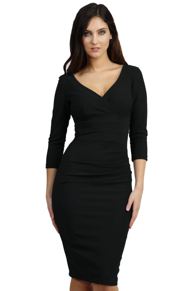 Model wearing the Diva Jemima dress in pencil dress design in black front image