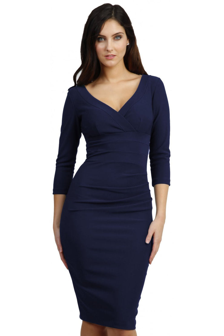Model wearing the Diva Jemima dress in pencil dress design in navy front image