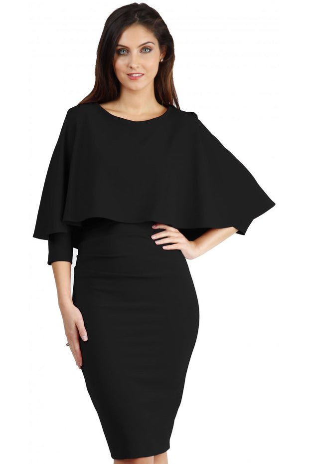 model wearing diva catwalk lizanne pencil-skirt dress with an attached wide cape detail and 3 4 sleeves in colour black front