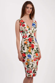 Model wearing the Diva Athens Print dress sleeveless with plunging neckline, semi square open back in eden print front image