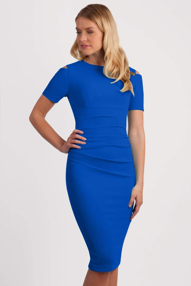 Model wearing the Diva Atlas Pencil dress with round neckline short sleeved dress with small cutouts on the shoulders in cobalt blue front image