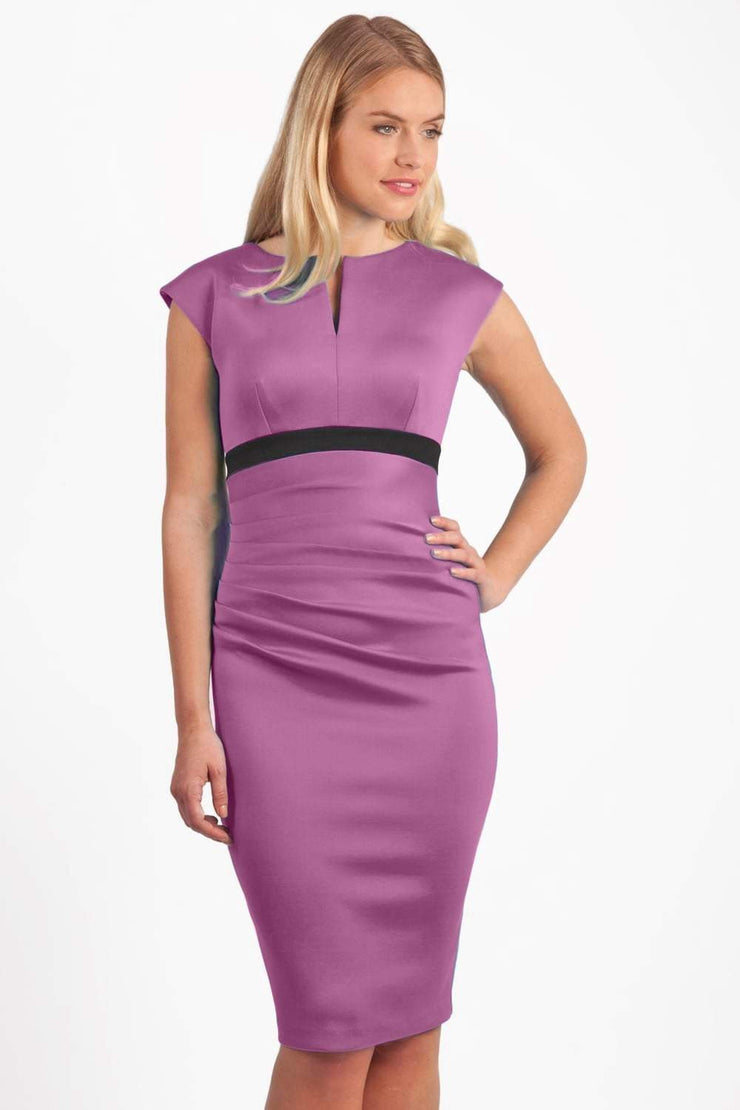 blonde model is wearing dive catwalk nadia sleeveless contrast band pencil-skirt dress with rounded neckline with a slit in the middle in orchid pink front