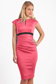 blonde model is wearing dive catwalk nadia sleeveless contrast band pencil-skirt dress with rounded neckline with a slit in the middle in calypso coral front