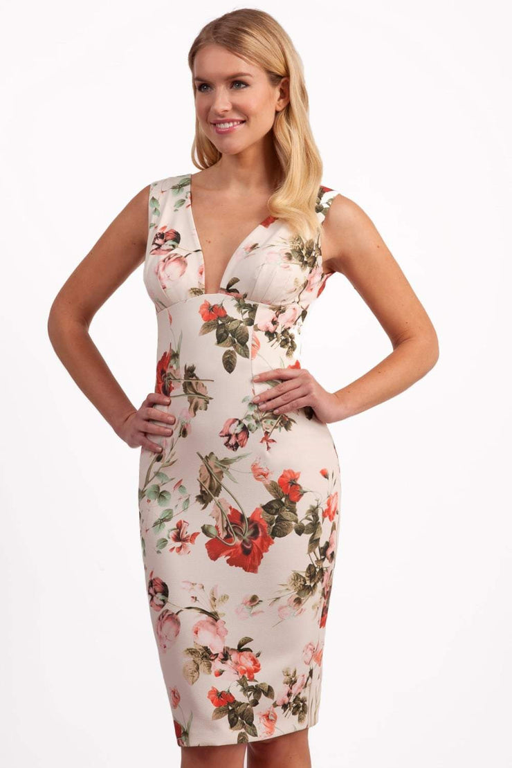 Model wearing the Diva Athens Print dress sleeveless with plunging neckline, semi square open back in rose blush print front image