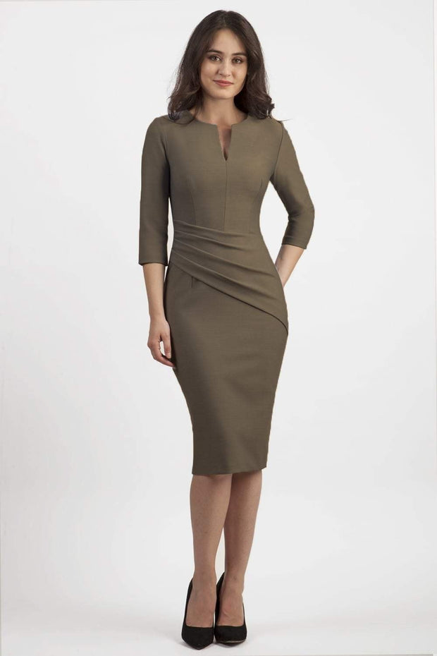 brunette model wearing seed diva catwalk milton sleeved pencil dress with a rounded neckline with a split in the middle in taupe brown front
