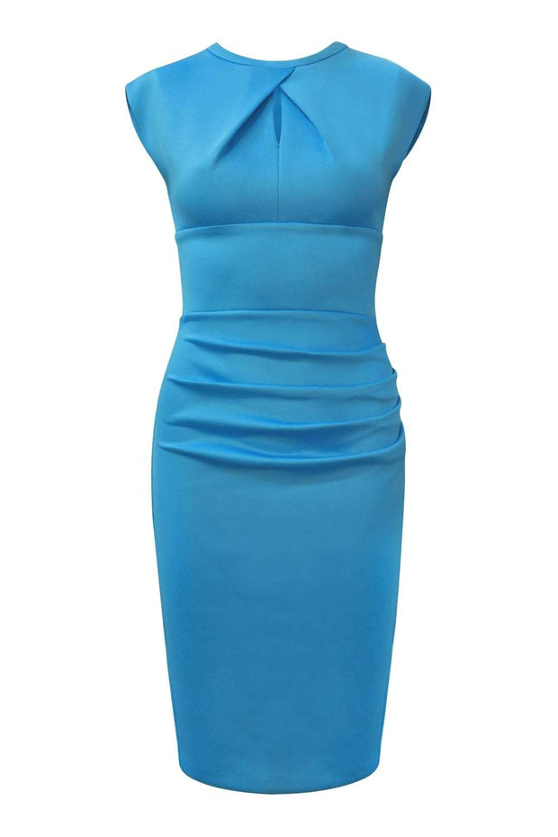Model wearing the Diva Kimberley dress in pencil dress design in horizon blue front image