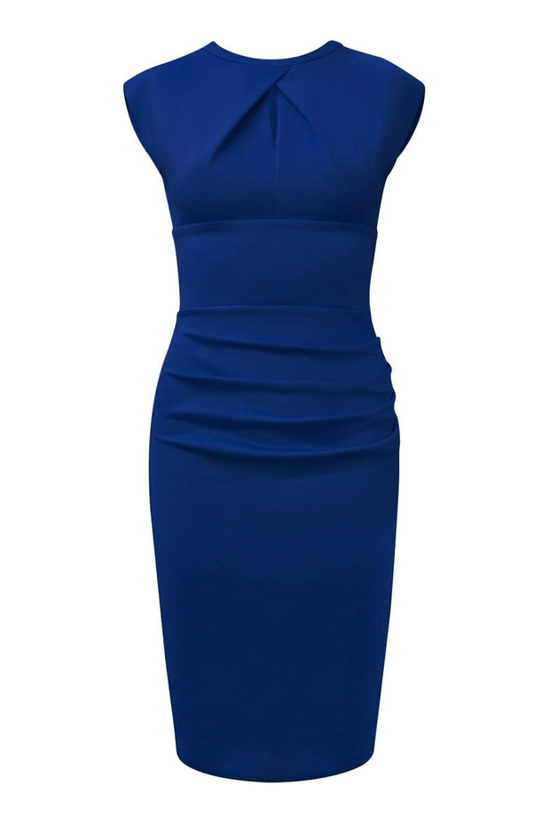 Model wearing the Diva Kimberley dress in pencil dress design in victoria blue front image