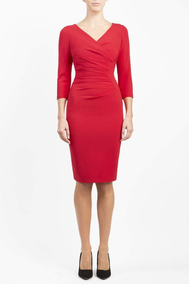Model wearing the Diva Chelsea Pencil dress with V neckline and three-quarter sleeves in passion red front image