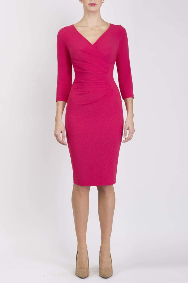 Model wearing the Diva Chelsea Pencil dress with V neckline and three-quarter sleeves in honeysuckle pink front image