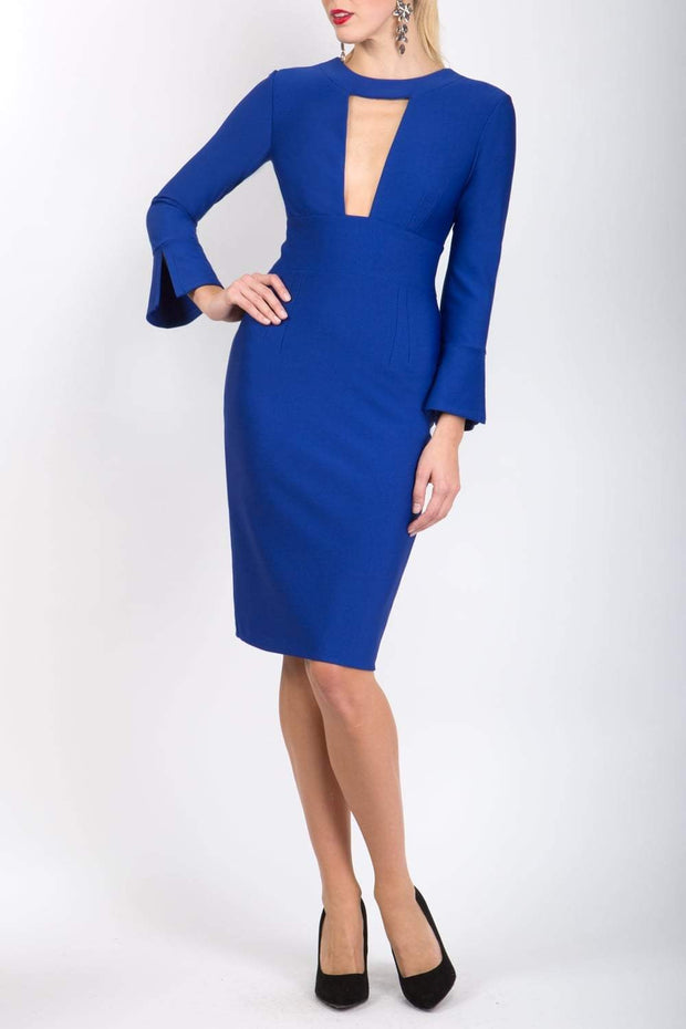 model is wearing diva catwalk fifi pencil skirt dress with three quarter flute sleeve and rounded neckline with a cut out at the front in royal blue front