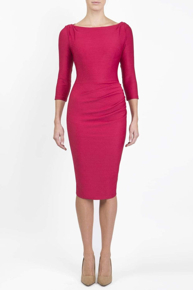 Model wearing the Seed Agatha in pencil dress design in crimson pink front image