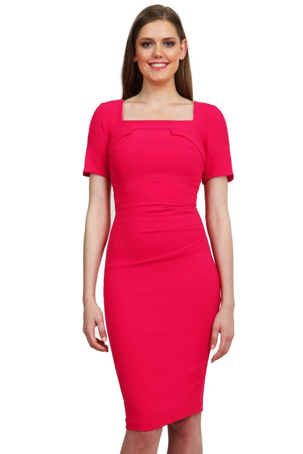 Model wearing the Diva Mollie dress in pencil dress design in honeysuckle pink front image