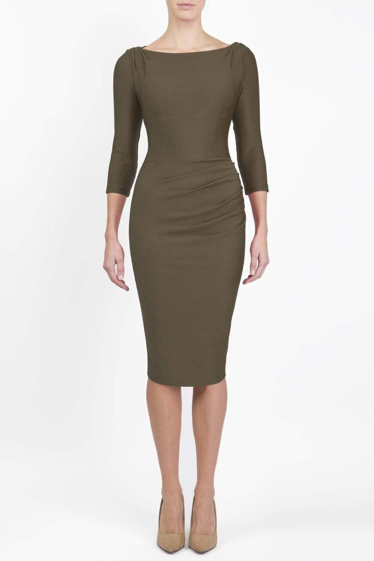Model wearing the Seed Agatha in pencil dress design in olive green front image