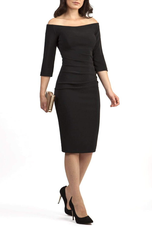 Model wearing the Diva Astra pencil dress with off shoulder design in black front image