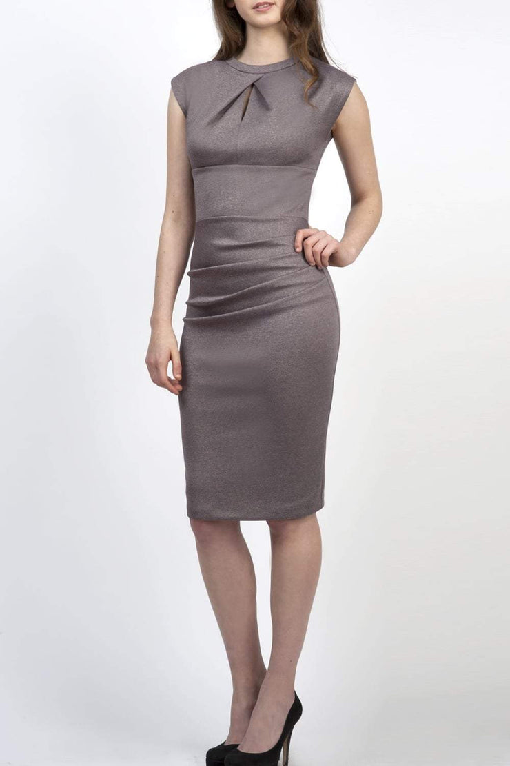 Model wearing the Diva Kimberley dress in pencil dress design in mist pink front image