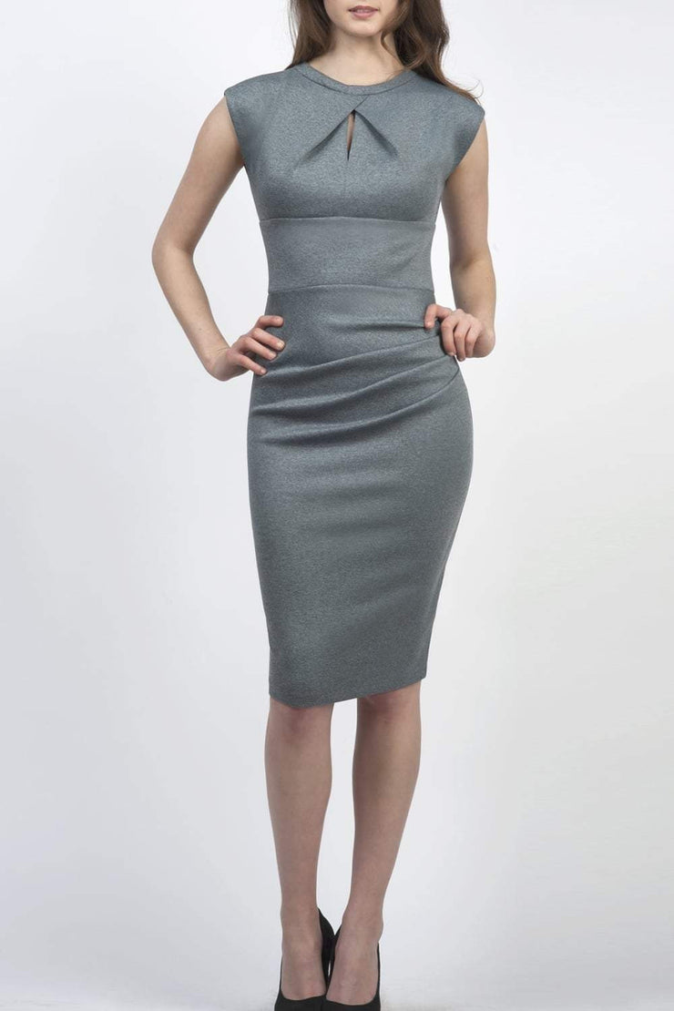 Model wearing the Diva Kimberley dress in pencil dress design in citadel blue front image