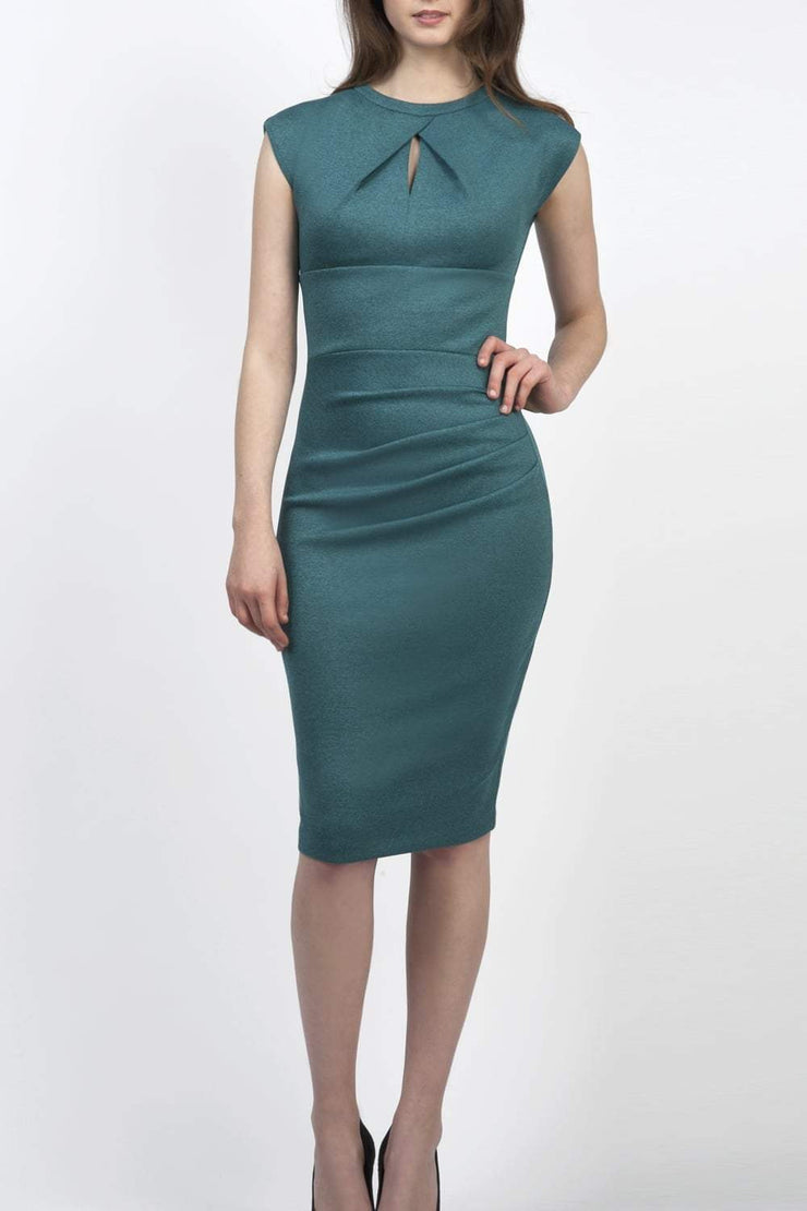 Model wearing the Diva Kimberley dress in pencil dress design in melange teal front image