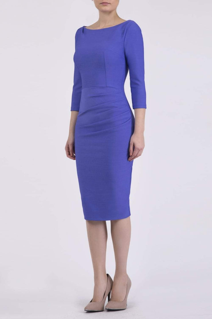 Model wearing the Seed Agatha in pencil dress design in dawn indigo front image