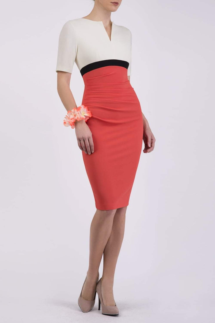 Nadia Colour Block Sleeved Pencil Dress