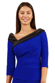 Model wearing the Diva Felicity top in cobalt blue and black front image