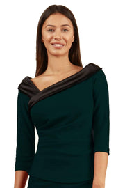 Model wearing the Diva Felicity top in forest green and black front image