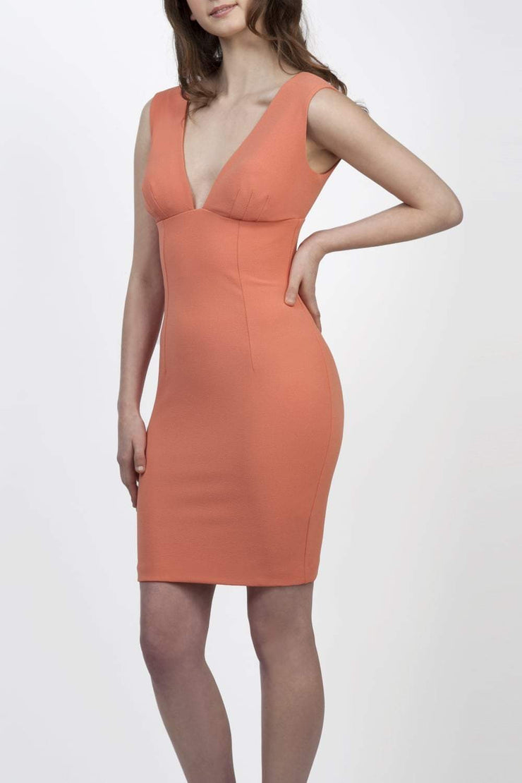 Model wearing the Diva Athens Short dress sleeveless with plunging neckline, semi square open back in dusty coral front image