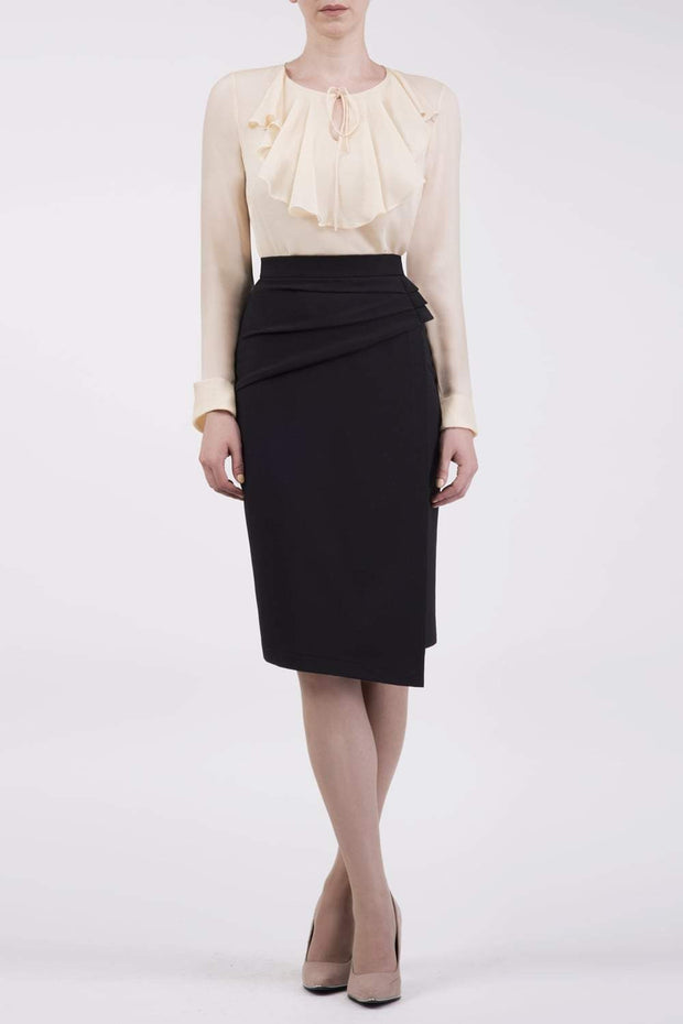 model is wearing diva catwalk antibe pencil asymmetric skirt with pleating at the front in black front