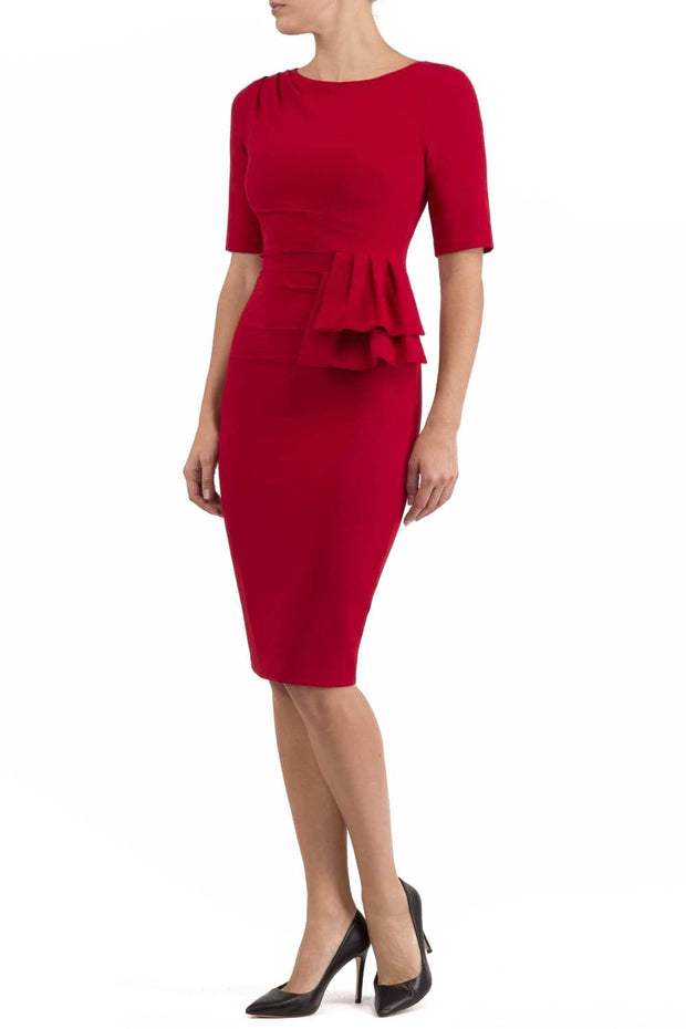 Model wearing the Diva Lynette dress in pencil dress design in scarlet red front image
